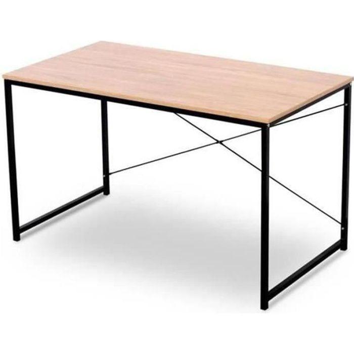WOLTU Bureau d'ordinateur, table de bureau en bois et acier, Bureau informatique avec étagère,120x60x70cm, 10.2kg,Noir+chêne clair