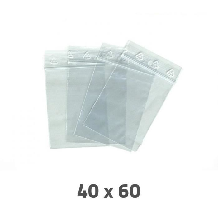 lot 100 sachet plastique transparent zip ziploc dimensions 60 x 40