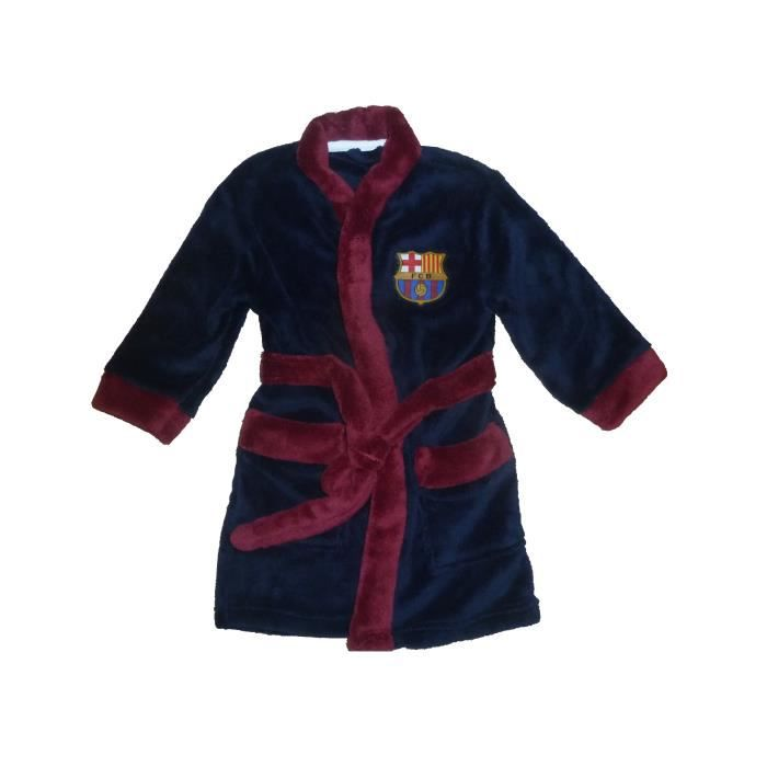 robe de chambre peignoir enfants fc barcelone sur pyjama logo fcb bar a gar ons 8 9 ans fan de. Black Bedroom Furniture Sets. Home Design Ideas