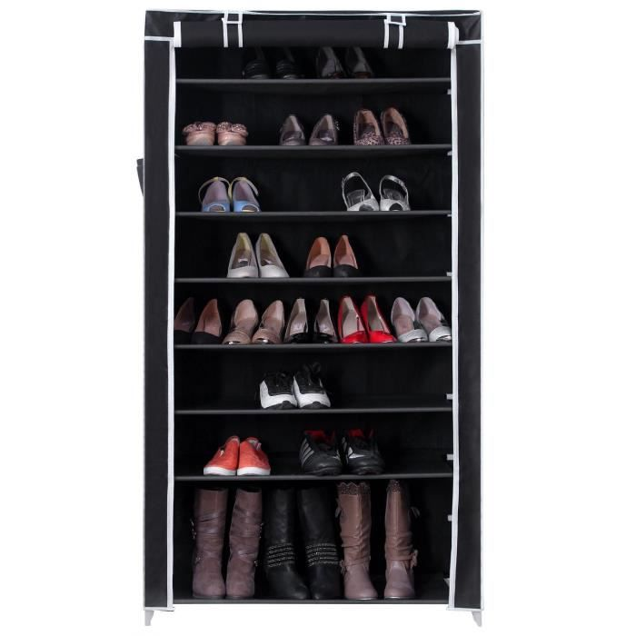 meuble penderie garde robe etagere pour chaussures 45 paires vetements 88 x 28 x 160 cm noir. Black Bedroom Furniture Sets. Home Design Ideas