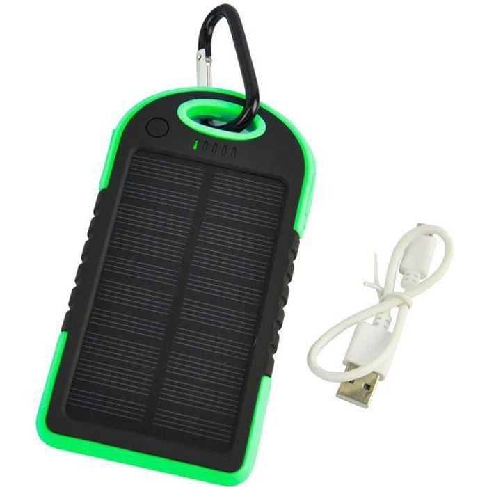 chargeur solaire usb etanche vert 5000 mah t l phone. Black Bedroom Furniture Sets. Home Design Ideas