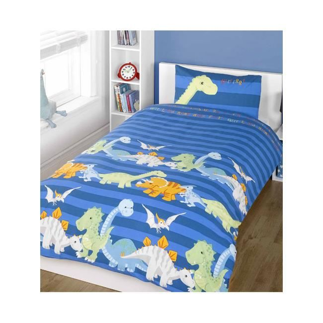 parure de lit dinosaure tyrannosaure bleu achat vente. Black Bedroom Furniture Sets. Home Design Ideas