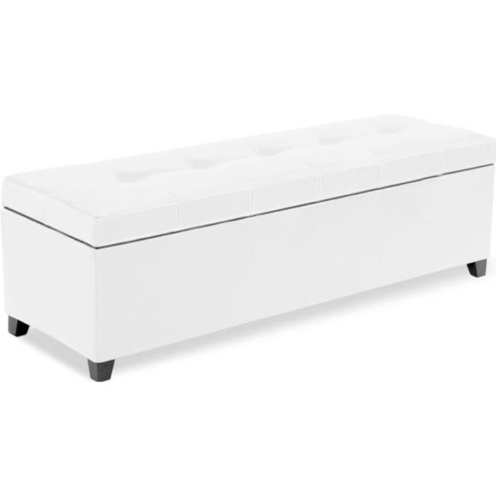 banquette coffre milano blanc achat vente banquette cdiscount. Black Bedroom Furniture Sets. Home Design Ideas