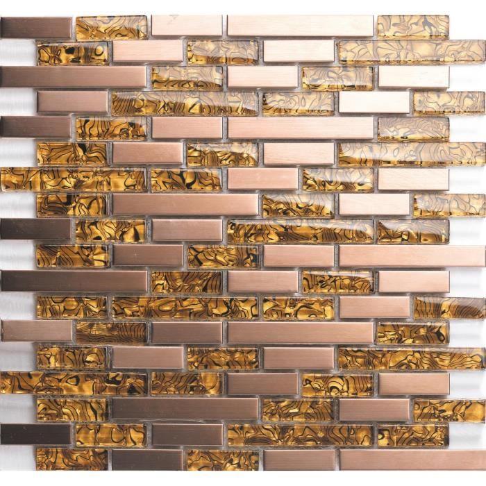 mt0169/M/ètre carr/é 1/m/² tapis mosa/ïque en acier inoxydable bross/é et carrelage mural Feuilles dor et cuivre