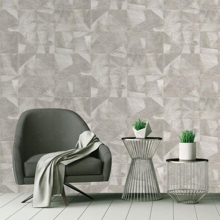 Belgravia DECOR Caprice papier peint à motifs géométriques métallique en relief des formes
