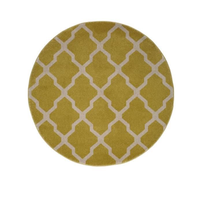 benuta tapis rond lotus jaune 200 cm rond achat. Black Bedroom Furniture Sets. Home Design Ideas