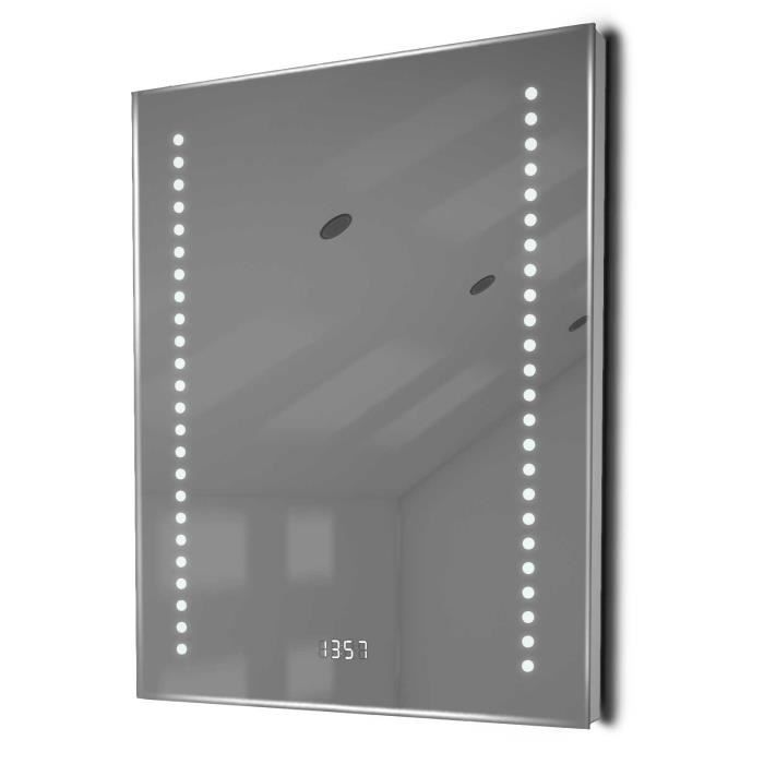 miroir salle de bain horloge num clairage rvb anti bu e capteur k188rgb taille l 500mm. Black Bedroom Furniture Sets. Home Design Ideas