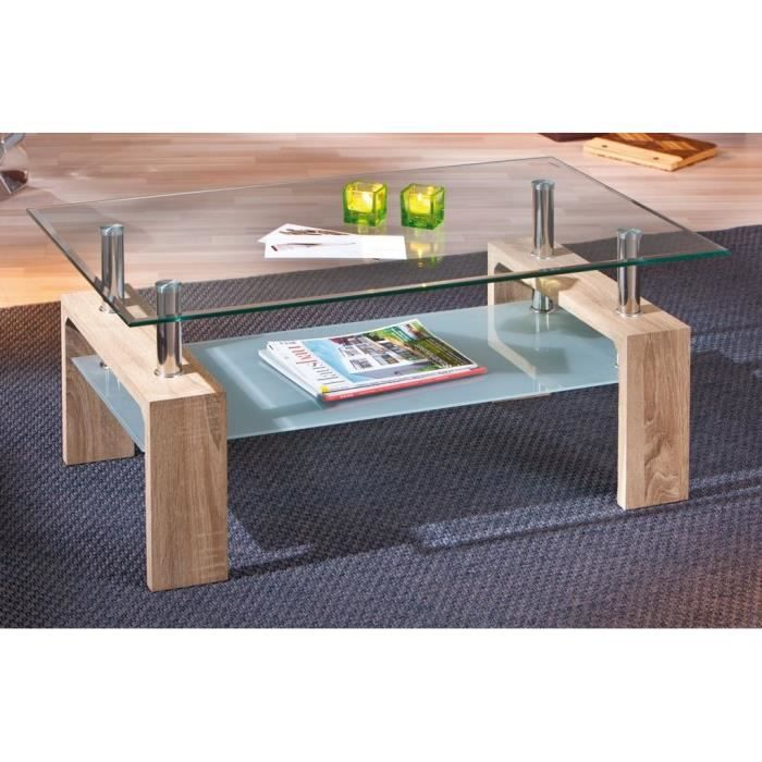 Table basse double en verre loana ch ne achat vente - Table de coupe verre ...