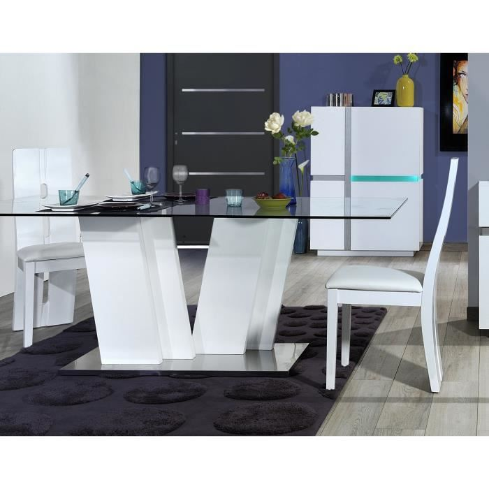 Table de salle manger design blanc laqu joss achat for Table a manger blanc laque