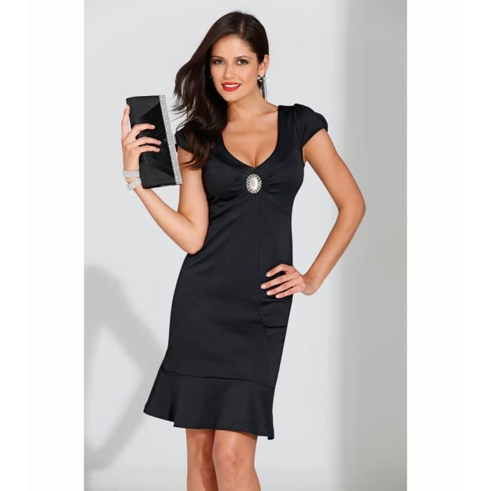 c38388a72db19 Robe manches courtes avec broche... - Achat   Vente robe - Cdiscount