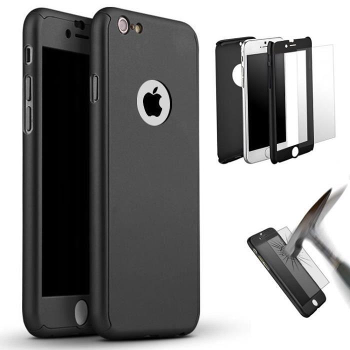 coque integrale iphone 7 plus noir verre trempe