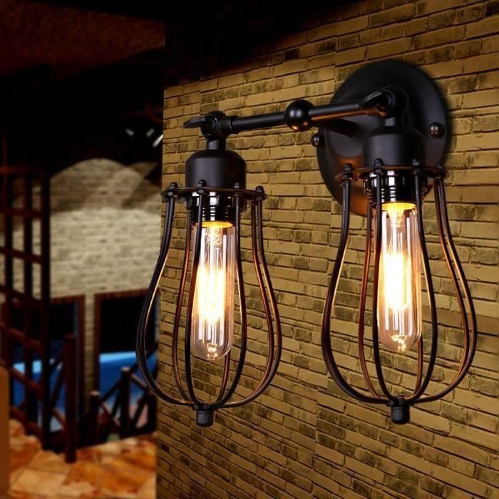 retro industriel edison simplicit applique lampe murale double antique avec abat jour de. Black Bedroom Furniture Sets. Home Design Ideas