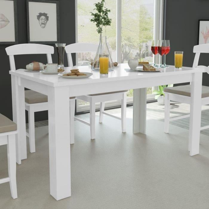 Table De Salle A Manger 140 X 80 X 75 Cm Blanc Achat Vente