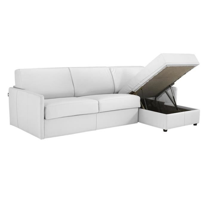 canap lit d 39 angle star cuir recycl blanc 120x190 achat vente canap sofa divan cuir. Black Bedroom Furniture Sets. Home Design Ideas