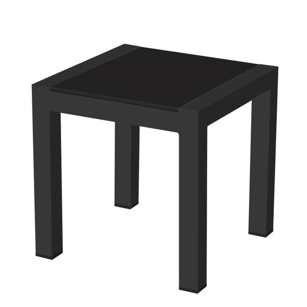 TABLE BASSE Table basse carrée alu anthracite plateau verre no