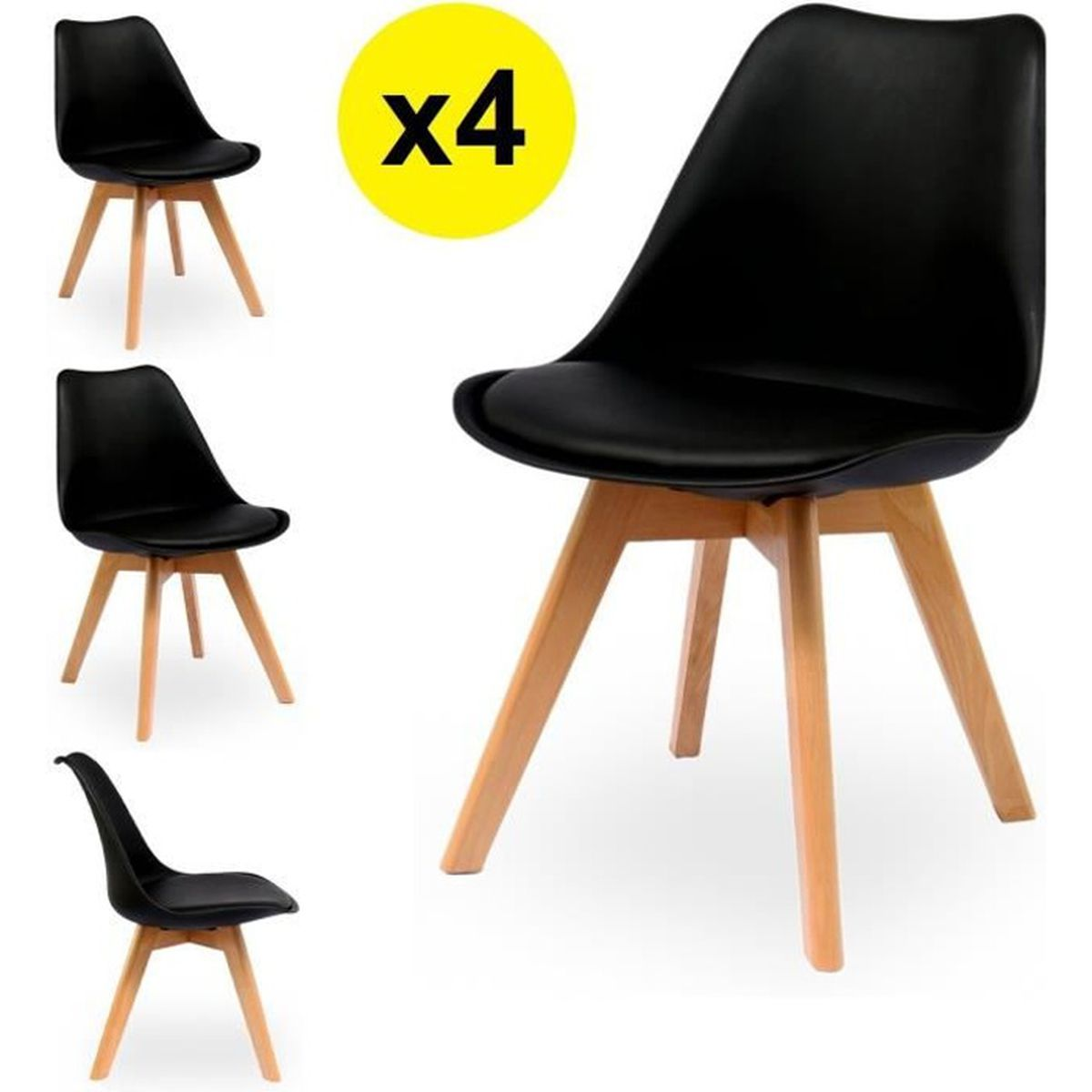 lot de 4 chaises scandinaves coloris noir skagen style scandinave la tendance ultime. Black Bedroom Furniture Sets. Home Design Ideas
