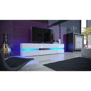 MEUBLE TV Meuble design blanc corps mat avec façades laquées