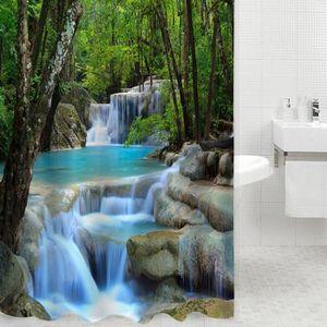 RIDEAU DE DOUCHE LR Cascades 3D Nature Paysage Douche Eau Rideau Po