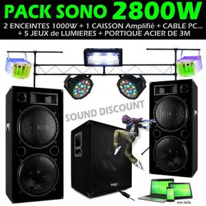 PACK SONO DJ SONO  + 5 JEUX DE LUMIÈRE + PORTIQUE DJ 3M ROBU
