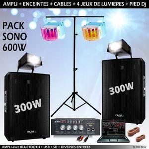 PACK SONO PACK SONO 600 avec AMPLI + 2 ENCEINTES 300W + 4 JE