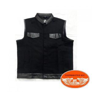 BLOUSON - VESTE Gilet Biker Jean/cuir Noir Uni Taille L