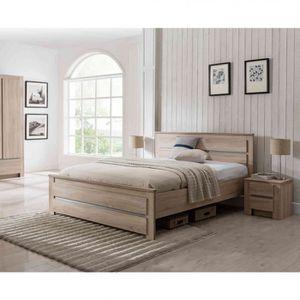 STRUCTURE DE LIT Lit en bois coloris chêne 160x200 - LT4027