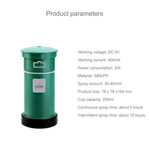 DÉSHUMIDIFICATEUR Humidificateur d'Air 2W Mini Portable Post Box Sha