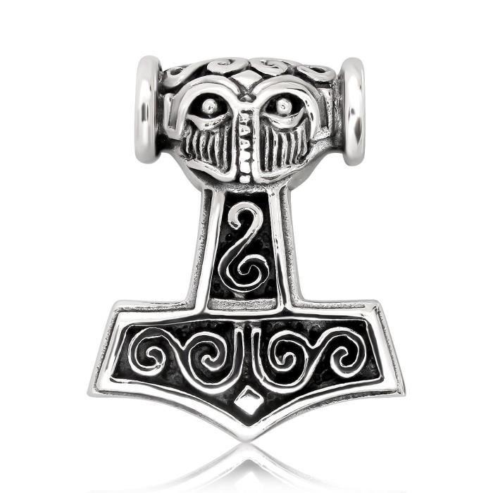 Chaine De Cou Vendue Seule O59EF Femmes Argent 925 Viking Amulette Guerrier Norse Marteau de Thor Mjolnir Pendentif