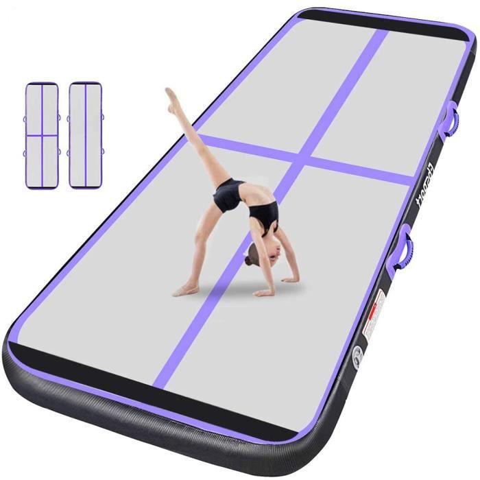 Tapis de gymnastique Tapis de yoga gonflable avec le plancher d'air de pompe - 300x100x10 cm - Violet