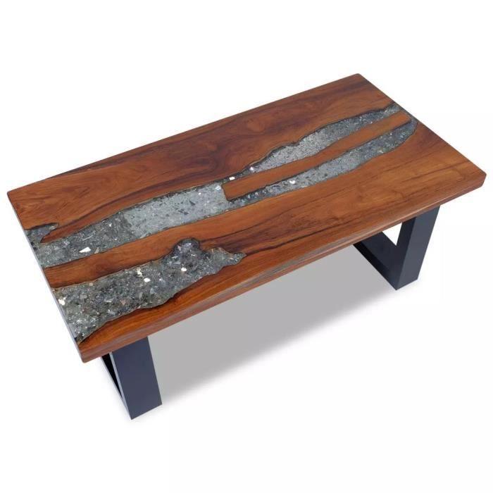 Table basse contemporain - Style industriel - D'appoint Bout Canapé - Teck Résine 100 x 50 cm
