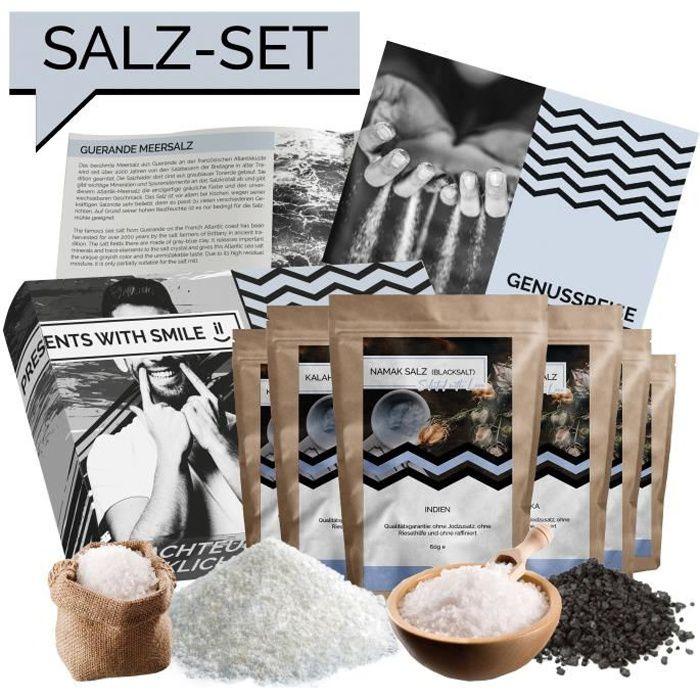 Coffret d'essai de sel - Coffret Sels naturels du monde - Idée cadeau Salt World Trip Coffret cadeau pour femme homme - Boîte à sel