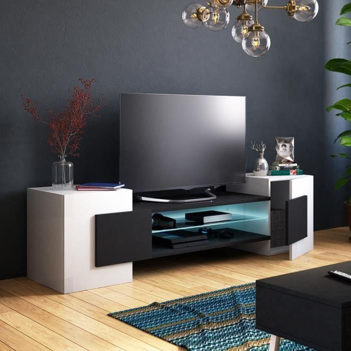 Meuble TV / Meuble de salon - GAELIN - 160 cm - blanc mat / noir mat - avec LED - style contemporain - design moderne