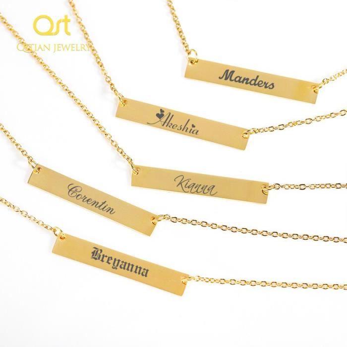 Collier personnalisé de barre collier de nom gravé par coutume collier de plaque signalétique d'acier inoxydable d&#*KI25203