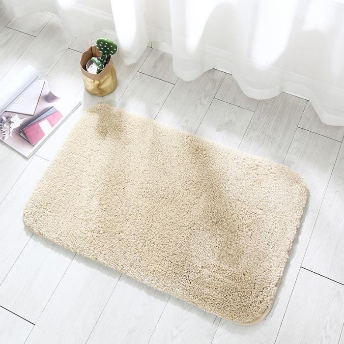 Tapis de sol de salle de bain, épaissi, absorbant et antidérapant-Beige-50x80cm
