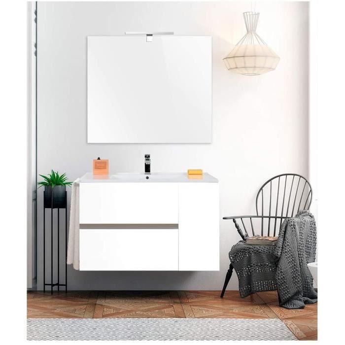 Meuble de salle de bain HEIMDALL 80CM Blanc avec plan vasque et miroir. Avec porte serviettes en cadeau!!!