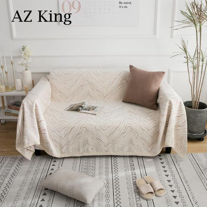 AZ KING-Jeté de Canapé Tricotée Antidérapage - Beige - 180 x 280 cm- Motif Ondulation de l'eau- Jeté pour Lit Salon Fauteuil