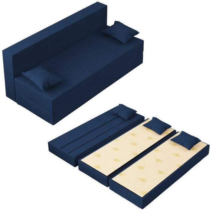 Canapé Lit TreTris Convertible Modulable Réversible 3 places - Tissu dehoussable et lavable Couleur Bleu