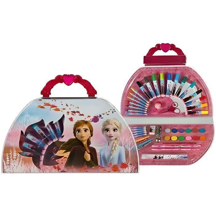 Mallette de coloriage Reine des Neiges 51 pieces (feutres, crayons, cire, peinture, etc. ) - Coffret artiste Disney - Dessin enfan