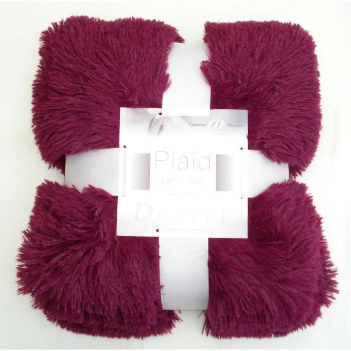 - Plaid 130x160cm - BEATLE PURPLE - fourrure poil long - 100%Polyester