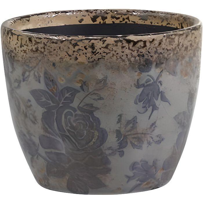 Pot Motifs Floraux Vase Pot à Crayons Broc Décoratif en Terre Cuite Emaillée dans les Tons Bleus 10x12x12cm