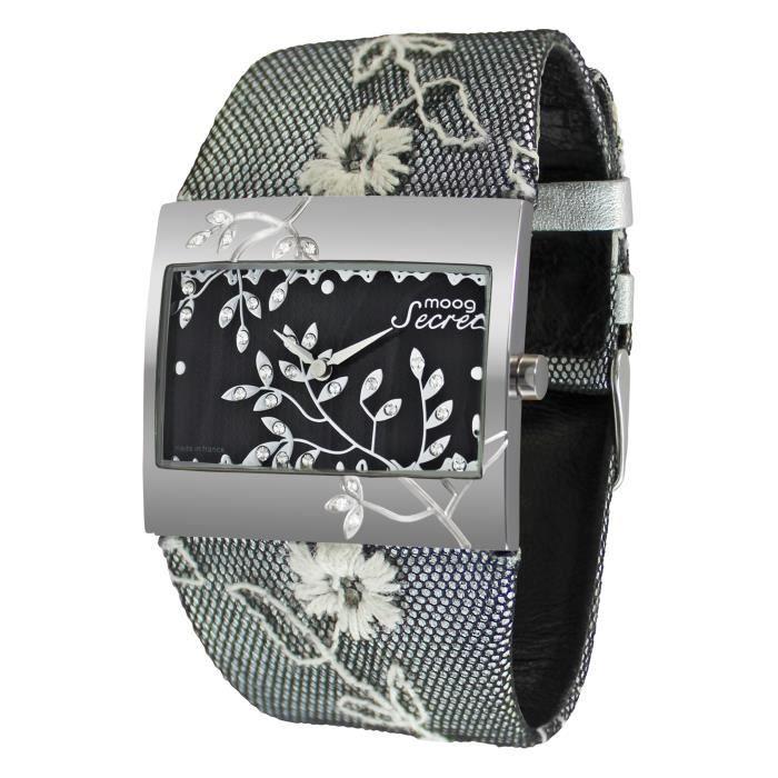 Montre Femme Moog Paris Secret avec Cadran Noir, Eléments Swarovski, Bracelet Noir en Cuir Véritable - M44932-001