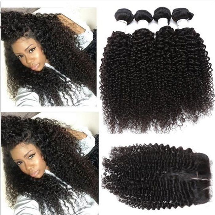 4 TISSAGES 7A PÉRUVIEN VIRGIN HAIR KINKY CURLY WITH LACE CLOSURE Middle Part
