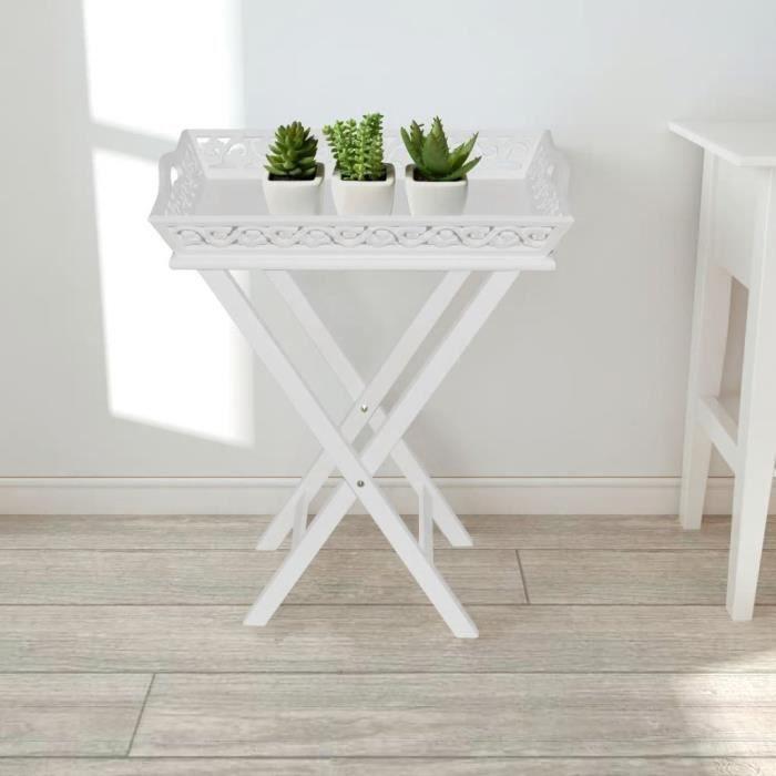 Table d'appoint avec plateau Blanc