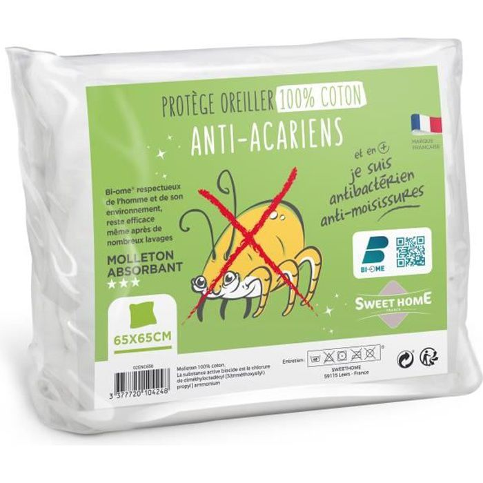 SWEETHOME Protège-oreiller 100% coton - Anti-acariens - 65x65 cm