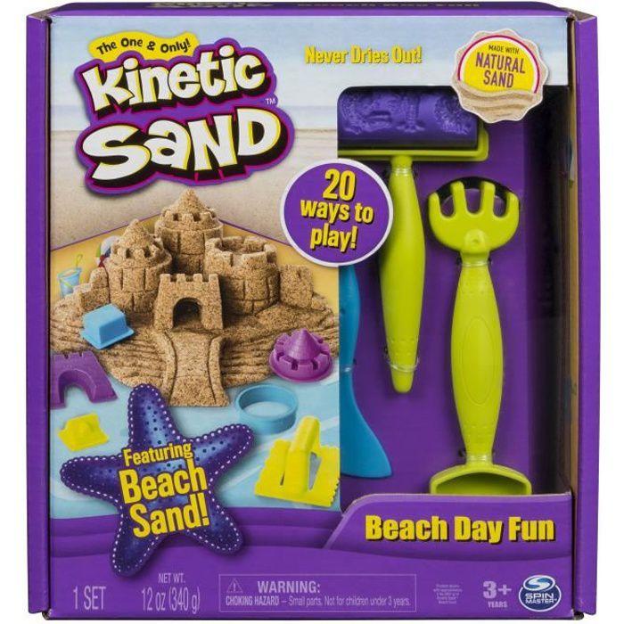KINETIC SAND - SABLE MAGIQUE - COFFRET PLAGE 340G + 9 ACCESSOIRES - Sable Cinétique et Coloré à modeler - 6037424 - Jouet 3 ans