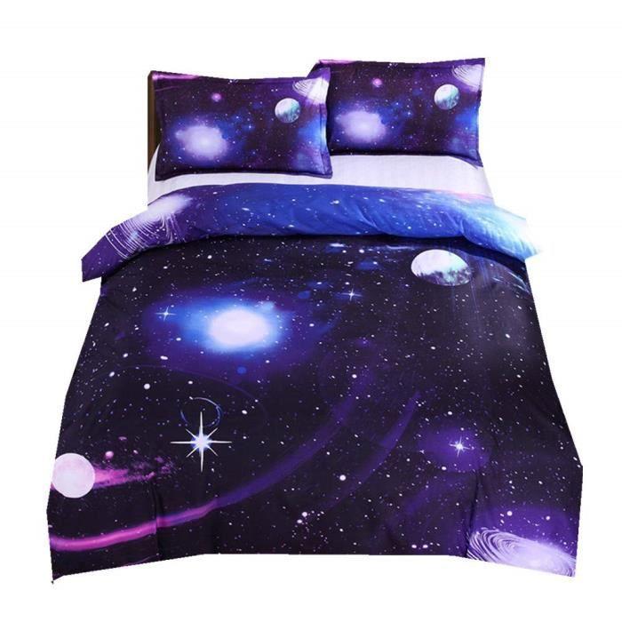 Nébuleuse Galaxie Housse de Couette avec Fermeture éclair, Garçon ler, Belle Galaxie Ensemble de Literie (Violet Nébuleuse Galaxie)