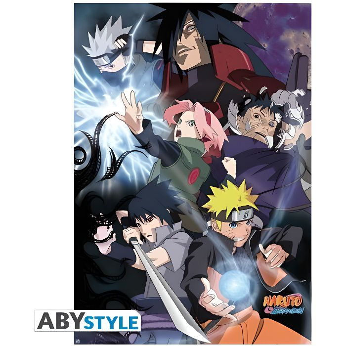 Poster naruto shippuden groupe guerre ninja 98x68cm for Decoration murale naruto