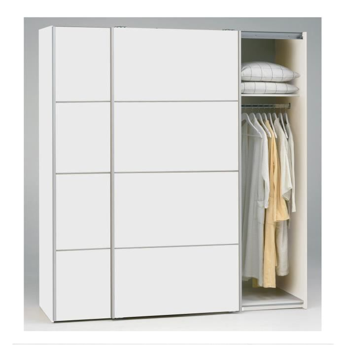 teen armoire 2 portes coulissantes 180cm blanc achat. Black Bedroom Furniture Sets. Home Design Ideas