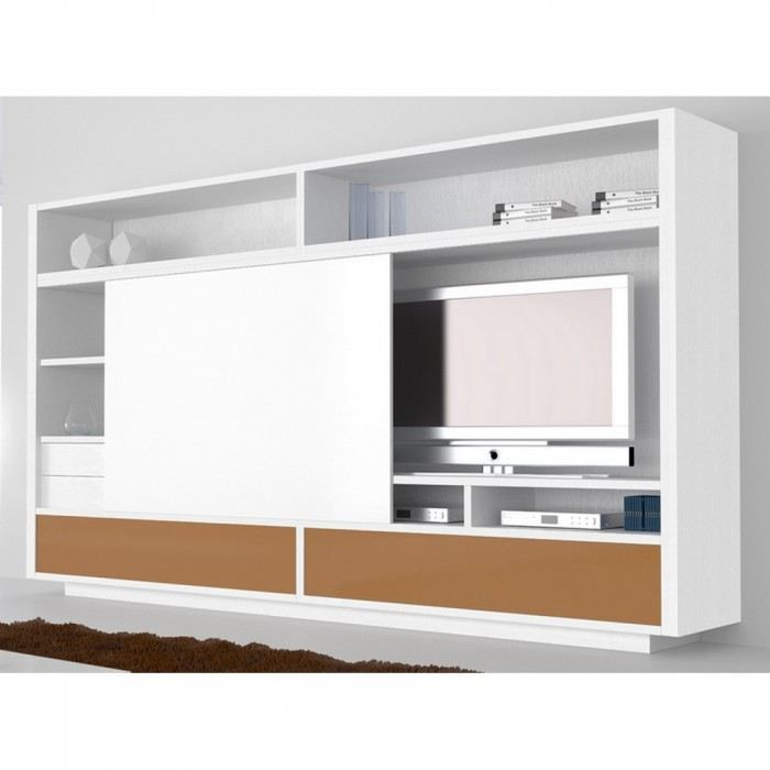 meuble tv mural bronze slide couleur blanc mati achat. Black Bedroom Furniture Sets. Home Design Ideas