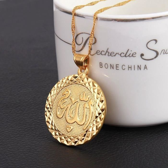 HIJONES Hommes Acier Inoxydable 18 Carats Plaqu/é Or Musulman Allah Grand Pendentif Collier
